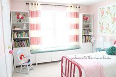 Window seat for a little girl bedroom. So sweet!