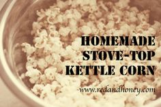 Maple Kettle Corn Recipe -redandhoney.com - I seriously just made this and it's SO good. Popcorn kernels Coconut oil Maple syrup Sea salt
