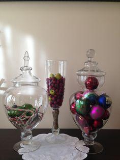 Candy jars at Christmas