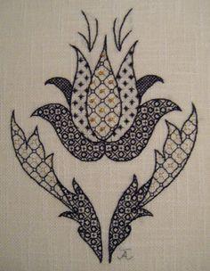 Blackwork Tulip Embroidery Pattern