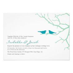 Turquoise Love Birds Wedding Invite from Zazzle.com