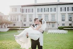 Bride and groom wedding day portraits in the setting sun. Gorgeous champagne and gold vintage inspired wedding. Classic, elegant Grosse Pointe War Memorial wedding with an old Hollywood feel and lots of romance by Kari Dawson Photography.