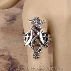 VOODOO - MARIE LAVEAU - RING Veve STERLING Silver 925 Lwa Vodou #BlackWaterSirenStudio