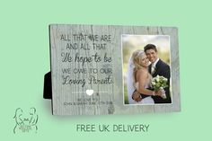 Personalised Parents Wedding Thank You wooden photo panel