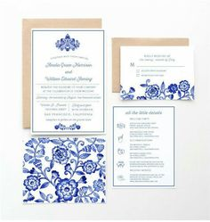 Blue and white delft invitations