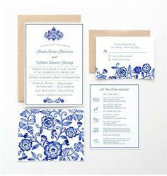 Blue and white delft invitations