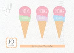 Ice Cream Themed Favour Tags / Thankyou Tags / Ice Cream Party - INSTANT DOWNLOAD