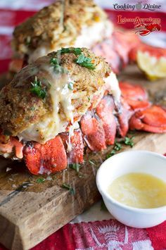 Crab & Bacon Stuffed Maine Lobster Tails Crab and Bacon Stuffed Lobster Tails - baked in the oven and served fresh! Lobster Dishes, Crab And Lobster, Lobster Recipes, Fish Dishes, Seafood Dishes, Fish Recipes, Seafood Recipes, Main Dishes, Cooking Recipes