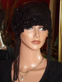 1920s Theme Flapper Hat Cloche Black Beaded by ludascrafts, $149.99