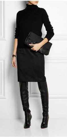 The best way to style in the knee boots, over the knee boots outfit inspirations, plummet design and style, cold style. over the knee boot outfit Mode Outfits, Winter Outfits, Casual Outfits, Fashion Outfits, Fashion Trends, Chic Black Outfits, Dress Winter, Woman Outfits, Winter Shoes