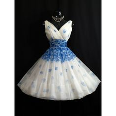 Vintage 1950's 50s Blue White Floral Roses Chiffon Organza Party Prom... ($250) ❤ liked on Polyvore featuring dresses, floral prom dresses, floral print dress, prom dresses, sexy dresses and vintage cocktail dresses