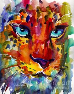 Colorful leopard painting in watercolor by Svetlana Novikova (copyright Svetlana Novikova).  Prints are available.