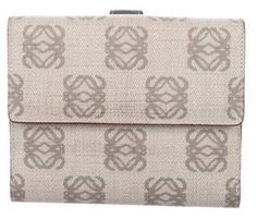 Loewe Monogram Canvas Compact Wallet Grey Monogram Canvas Compact Wallet Heritage Brands, Loewe, Monogram Canvas, Ring Necklace, Fashion Branding, Grey Leather, Accessories Shop, Compact, Jewelry Watches