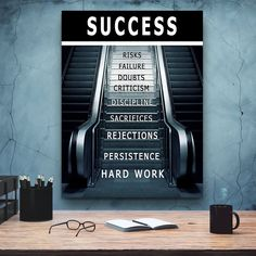 Success Canvas Art, Inspirational Motivational Keep Moving Forward Personal Growth Canvas Picture Artwork Wall Art
