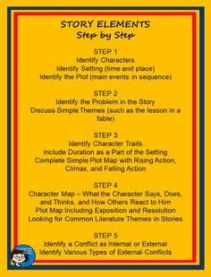 Teaching story elements step by step chart Reading Comprehension Skills, Reading Skills, Guided Reading, Teaching Reading, Teaching Tools, Middle School Writing, Thing 1, Story Elements, Teaching Language Arts
