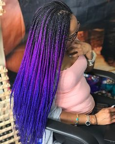 Long Box Braids: 67 Hairstyles To Upgrade Your Box Braids - Hairstyles Trends Short Box Braids, Blonde Box Braids, Braids For Black Hair, Purple Box Braids, Ombre Box Braids, Box Braids Hairstyles, Black Girl Braided Hairstyles, Colored Box Braids, Curly Hair Styles
