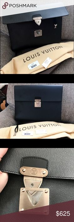Authentic Louis Vuitton RARE Minuto Ardoise Bag Authentic Louis Vuitton Rare Taiga Minuto Ardoise Large Organizer / work clutch. Very durable and a convenient design, can also hold a small laptop and multiple tablets - documents. Small interior zipped pocket to carry pens, etc. Lock and key style antique silver hardware. Opens to multiple slots, comes with a set of keys on a leather holder. Hardware has some slight tarnishing / wear other then that in excellent condition! Comes with original…