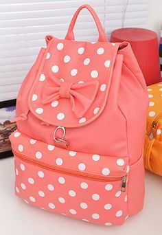 POLKA DOTS: Red Polka Dot Print & Bowknot Style: Sweet/ Fresh Size: Length: ) Width: ) Height: ) Weight: Color: Rose Red/Brown/Light Pink/Sky Blue Material: PU The construction of this backpack is very simple but chic. Cute Backpacks, School Backpacks, Teen Backpacks, Leather Backpacks, Leather Bags, Sacs Tote Bags, Cute Purses, Cute Bags, Backpack Purse