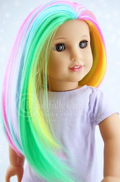 Spring Pastel Rainbow Radiance Doll Wig for Custom American Girl Dolls Size 10-11 Colorful Hair: Beautifully Custom Exclusive