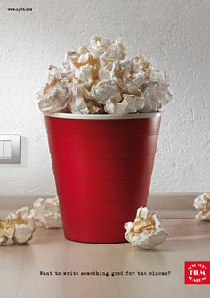"""top ads: NYFA.com's """"Want to write something good for the cinema?"""": popcorned paper trash ; ) (via Advertising Done Right: 25 Memorable Ads at InspirationFeed.com)"""