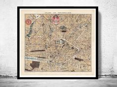 Old Map of Brussels Bruxelles Belgium 1924 by OldCityPrints