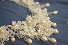 White Pearl Wedding Statement Beaded Necklace by BeadsGemsFlowers