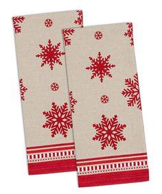 Peppermint Snow Dish Towel - Set of Four #zulily #zulilyfinds