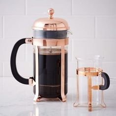 By Bodum, $60 for the french press, $30 for a set of two mugs. westelm.com