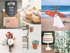 This surfboard and succulent wedding inspiration fits right in with the surfing spots of Port Antonio. #Jamaica