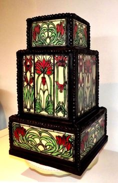 Art Deco Tiffany Style Stain Glass Cake by Storyteller Cakes - http://cakesdecor.com/cakes/227099-art-deco-tiffany-style-stain-glass-cake