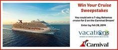 Win Your Cruise Sweepstakes || Sweepstakes and Giveaways http://www.sweepstakesandgiveawayshub.com/