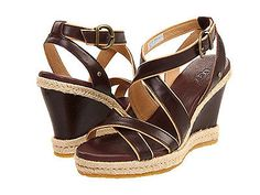 UGG Women`s Isabella Wedge Sandal Brown Leather Ankle Strap