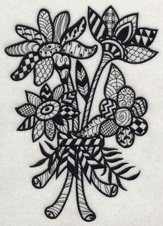 Flowers and Leaves (Blackwork) design (H9702) from www.Emblibrary.com