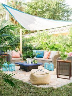 40 Chic Ideas for Patios and Porches on a Budget | HGTV Budget Patio, Diy Patio, Diy Deck, Backyard Canopy, Backyard Patio, Backyard Privacy, Backyard Landscaping, Desert Backyard, Sloped Backyard