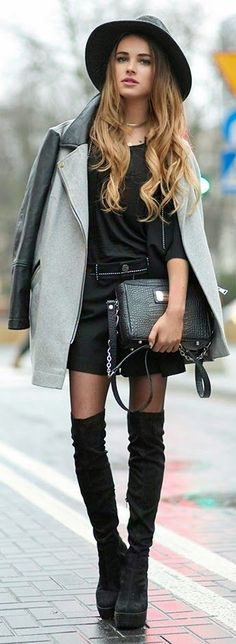 Black Platform Over-the-knee Boots by Maffashion