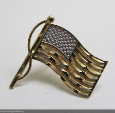 Luxury Patriotism - 14K Yellow & White Gold Flag Pin