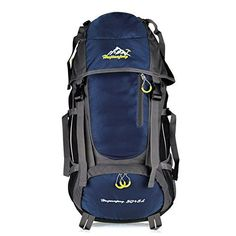 Vbiger Large Capacity 55L Lightweight Travel Water Resistant Backpack  Mountaineering Hiking Daypack Navy Blue 55L >>> Read more reviews of the product by visiting the link on the image.