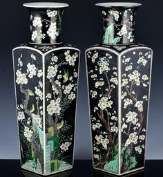 SUPERB PAIR CHINESE KANGXI FAMILLE VERTE BLACK ENAMEL FOUR SEASONS FACETED VASES Black Enamel, Four Seasons, Vases, Chinese, Ebay, Green, Seasons Of The Year, Jars, Vase