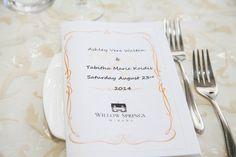 Willow Springs, Dinner Menu, Tableware, Photography, Wedding, Casamento, Dinnerware, Dishes, Weddings