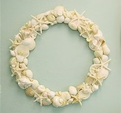 """Shell Wreath - Beach Decor - 20"""" £125.00 - Would be beautiful with a mirror"""