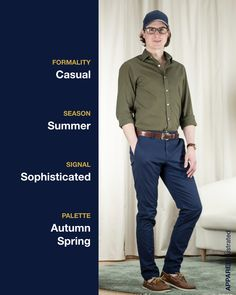 It may be Monday, but my heart is still in the weekend. This green, brown, and navy color palette makes for a sophisticated but casual weekend look Casual Shirts, Casual Outfits, Casual Weekend, Navy Color, Spring Colors, Sustainable Fashion, Boat Shoes, Palette, Menswear