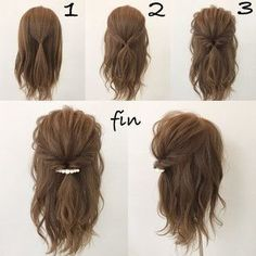 This hairstyle is easy and quick! Works best when you have a little curl on your hair, spray sea salt texturizing spray it to give you fullness and vo… - Coiffure Sites Medium Hair Styles, Curly Hair Styles, Hair Down Styles, Pretty Hairstyles, Easy Hairstyles Tutorials, Hairstyle Ideas, Easy Hairstyles For Short Hair, Simple Hairdos, Easy Hairstyles For Medium Hair