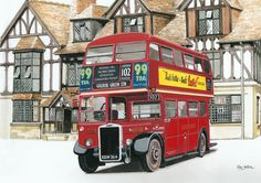 Royal Forest Return – The half timbered facade of the Royal Forest Hotel, Chingford provides the backdrop to RTW London Transport's first double decker one of 500 modified Titan… Road Transport, London Transport, Public Transport, Transport Pictures, London Red Bus, Forest Hotel, Bus Art, London Painting, Double Decker Bus