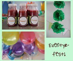 Eventyr-fest. Ballonger, smoothie og pom-pom.