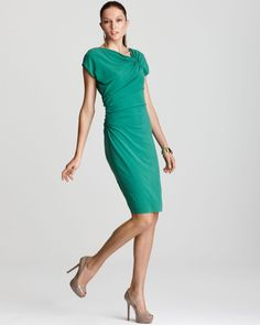 Escada Cap Sleeve Dress - with Ruching worn by Crown Princess Victoria