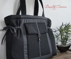 Gray Laptop TOTEbag padded Made to Order  can be by QUALITYcovers, $56.00