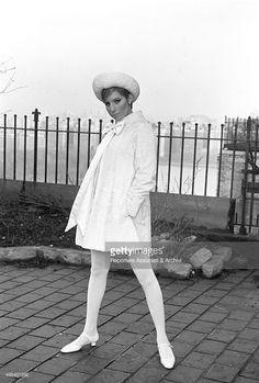 American singer and actress Barbra Streisand (Barbara Joan Streisand) posing outside her home. USA, 1969
