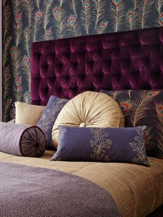 Sanderson: Themis/Aegean Collection. Serene and theatrical, this collection features beautifully painted peacock feathers printed in luminous colours to reflect their rich, iridescent quality.