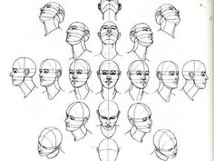 How to Draw a Head from Many Angles - Use this drawing tutorial to teach high school students proportion and positioning. Great drawing ideas for sketchbook assignments. Drawing Lessons, Drawing Skills, Drawing Techniques, Figure Drawing, Drawing Sketches, Art Drawings, Sketching, Drawing Tips, Drawing Portraits