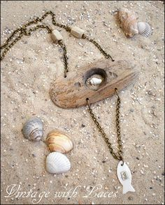 Driftwood Necklace with shells and fish charm Driftwood Jewelry, Driftwood Crafts, Wooden Jewelry, Wire Jewelry, Jewelry Crafts, Jewelry Art, Jewelry Design, Jewlery, Shell Jewelry